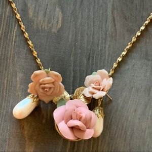 CHINA ROSE NECKLACE & EARRINGS VTG